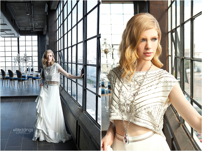 Beaded Bodice and Flowing Skirt Bridal Separates