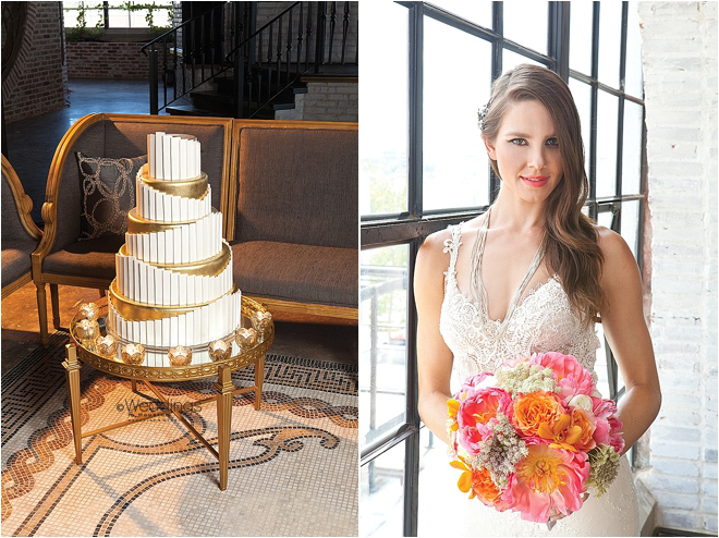 Metallic Gold Detailed Multi-Layer Wedding Cake and Tropical Flower Bouquet