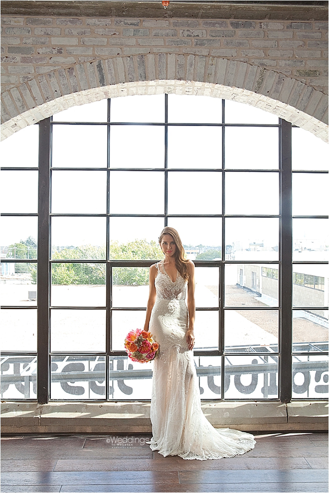 All-Over Lace Bridal Gown with Deep V Neckline