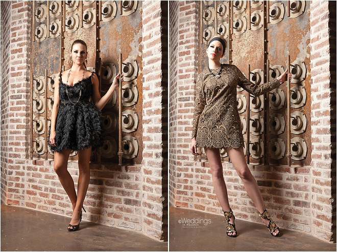 Brown Embroidered Cocktail Dress and Black Feathered Cocktail Dress