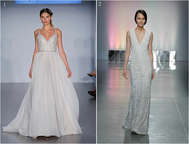 Beaded Deep Neckline Bridal Gowns