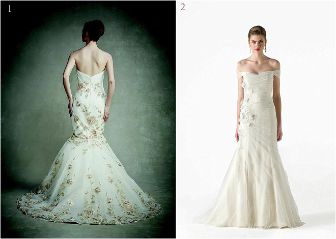 Floral Drop Waist Bridal Gowns