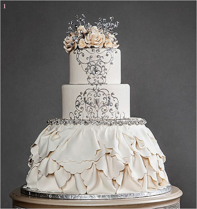 Unique wedding cake ideas archives houston wedding blog cream ruffled wedding cake with flower and jeweled details junglespirit Image collections