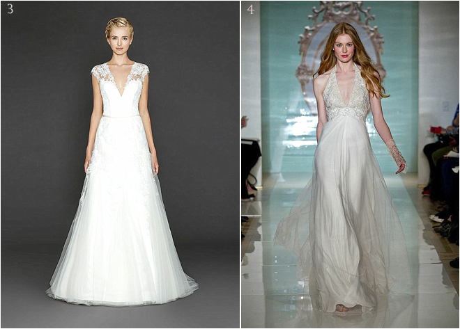 White Cap Sleeved Deep V Bridal Gown and Off-White Halter Deep V Bridal Gown