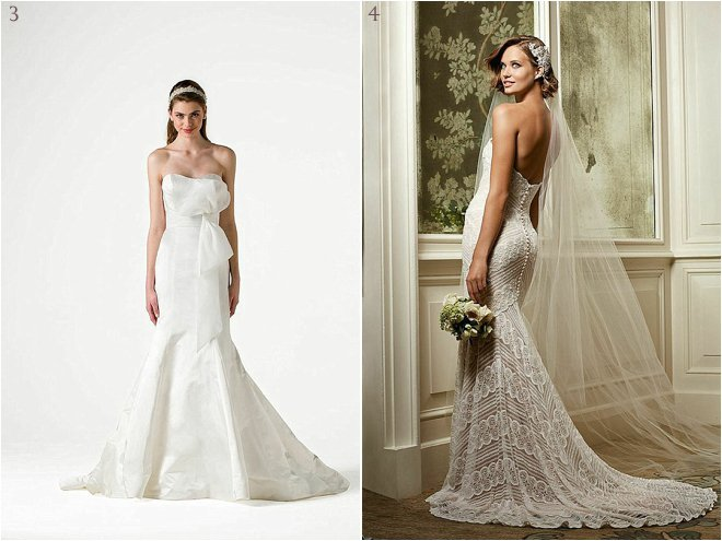 All White Drop Waist Bridal Gown and All-Over Lace Bridal Gown