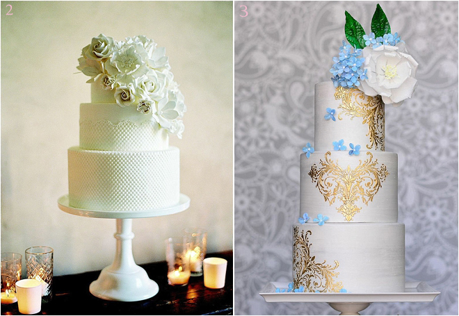 Three-Tiered Wedding Cakes with Floral Accents
