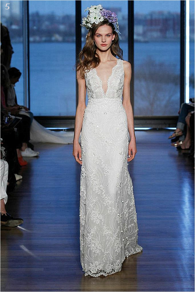 All Over Lace Deep V Bridal Bridal Gown