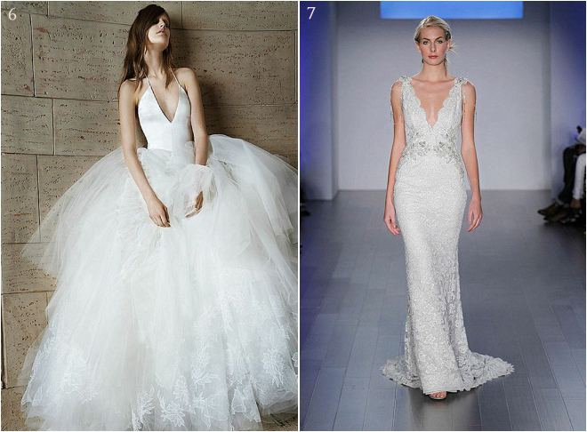 Deep Neckline Halter Ballroom Wedding Gown and Deep Neckline Beaded and Lace Bridal Gown