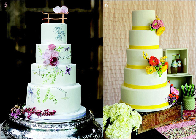 Tiered Wedding Cake With Bright Colors And Floral