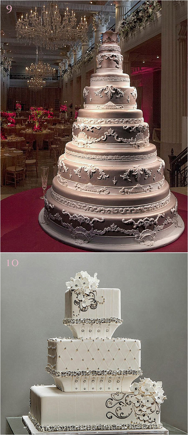 Multi-Tiered-Grand-Wedding-Cake-with-Lace-Accents-and-Short-Tiered-Wedding-Cake-With-Swavroski-Crystal-Accents