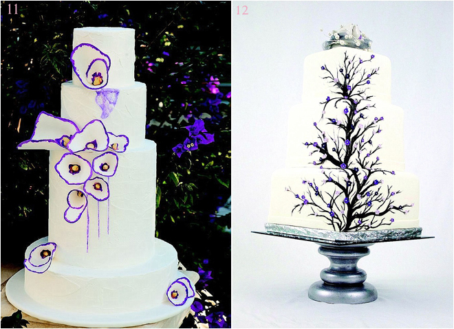 Purple Floral Detailed Wedding Cakes