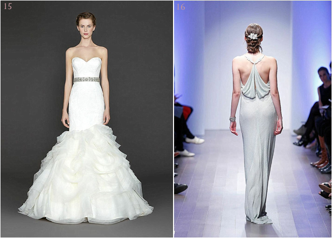 Sweetheart Neckline and Tiered Skirt Bridal Gown with Jeweled Belt and Silver Sheath Bridal Gown