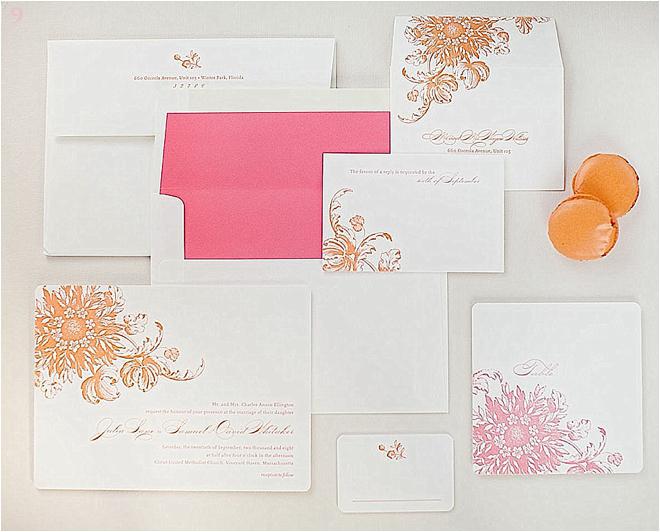 Pink and Orange Wedding Invitations