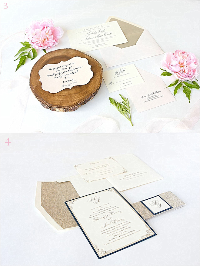 Rustic Ivory and Pink Wedding Invitations and Black with Gold Glitter Wedding Invitiations