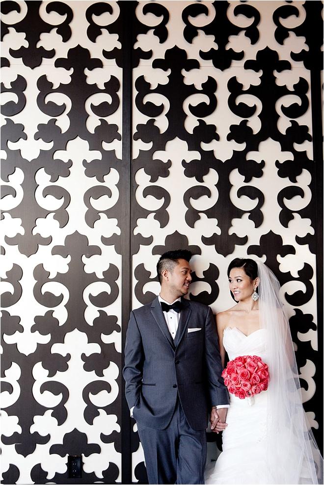 Coral, Gold & Gray Wedding