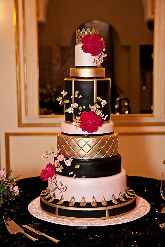 hot pink and gold wedding cake brickhouse bridal archives houston wedding 15331