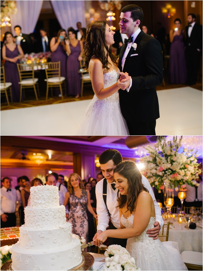 Bride-and-Groom-Cutting-Cake-and-First-Dance