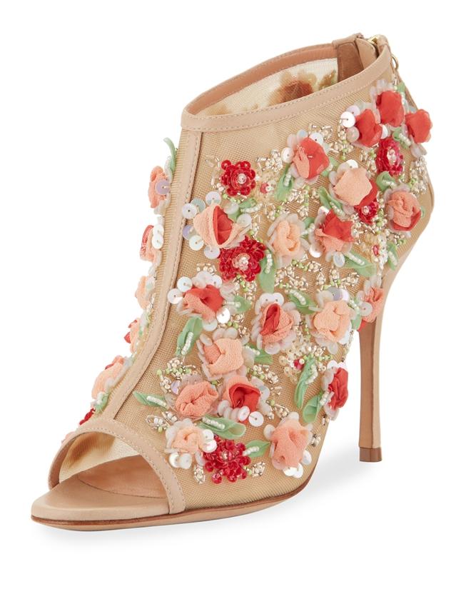 Manolo Blahnik-Clizia Mesh Floral Peep-Toe Bootie
