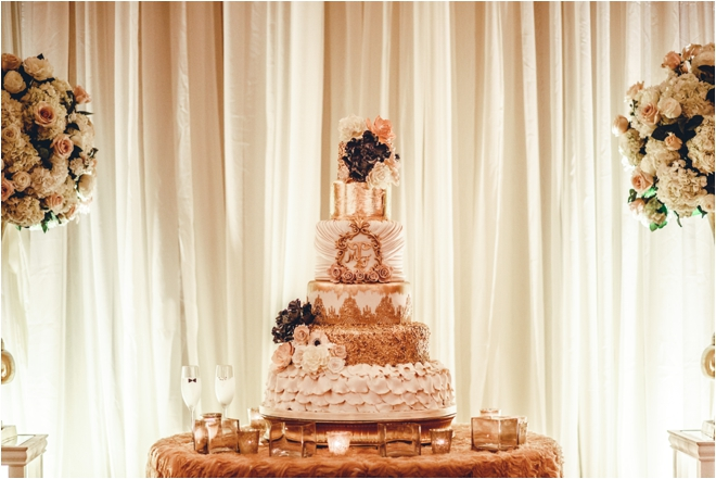 White-Gold-and-Black-Wedding-Cake