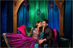 Bright Peacock-Inspired Sangeet & Garden-Themed South Asian Wedding