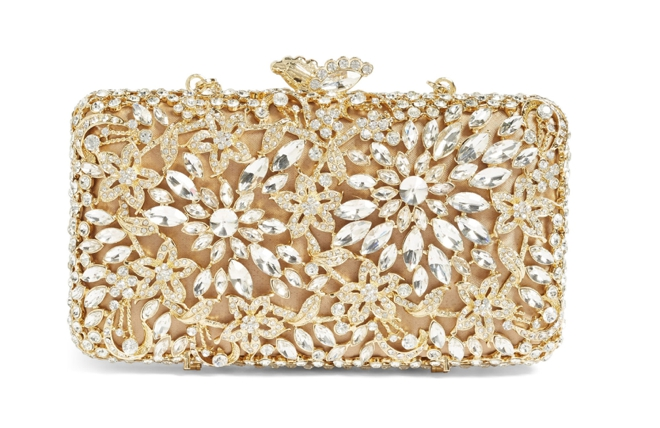 Glint Crystal Floral Minaudiere