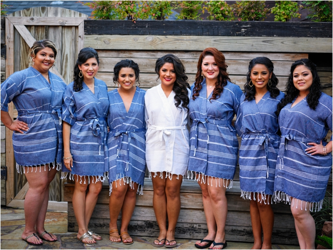 Blue-and-White-Bridesmaid-Robes