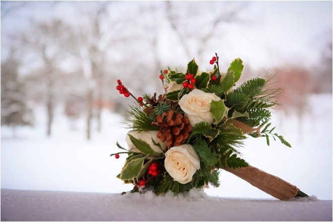Pinecone-holly-and-burlap-bouquet