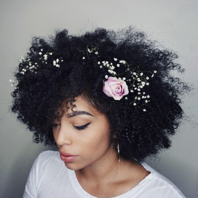 Flower Curly Fro Hair Style
