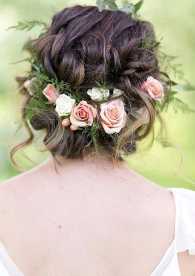 Flower Crown Curly Hair Tucked Updo