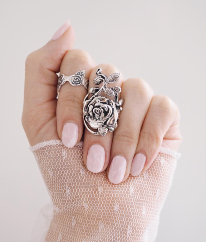 Pink and White Marble Manicure