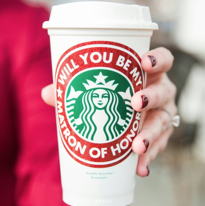 Will You Be My Matron of Honor Starbucks Cup