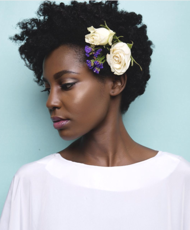 Short Flower Kinky Curly Hair Style