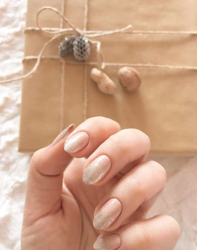 Nude with Sheer Glitter Finish