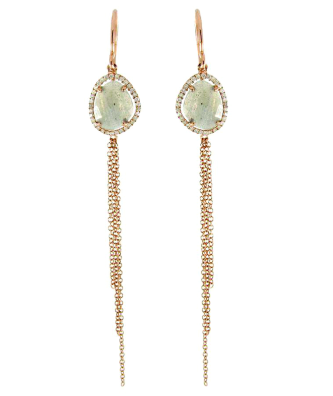 Rose-Gold Labradorite & Diamond Chain Earrings