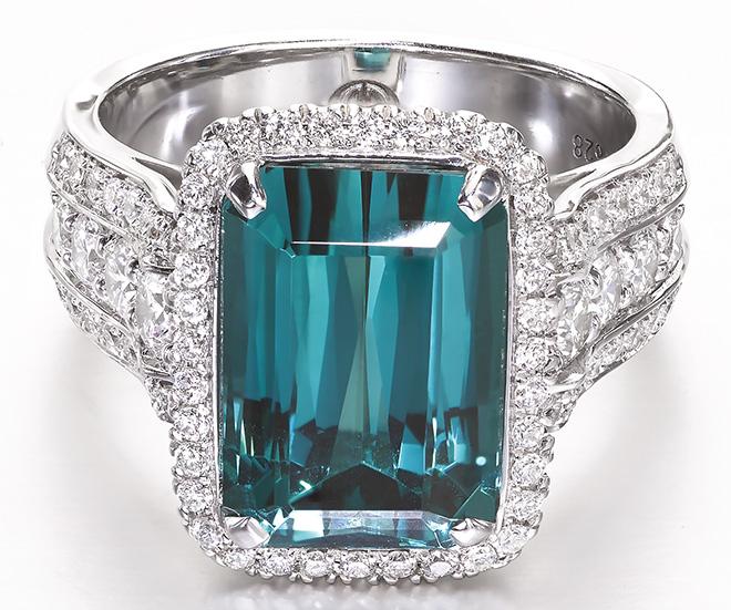 Green Tourmaline, Diamond, & 18k White-Gold Ring