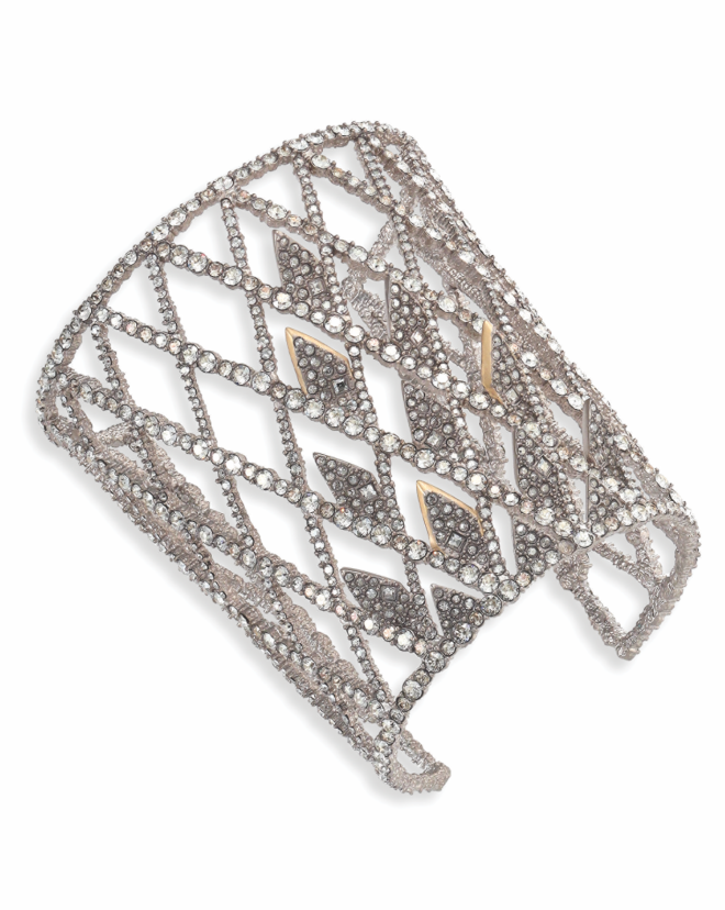 Crystal Encrusted Spike Lattice Cuff Bracelet