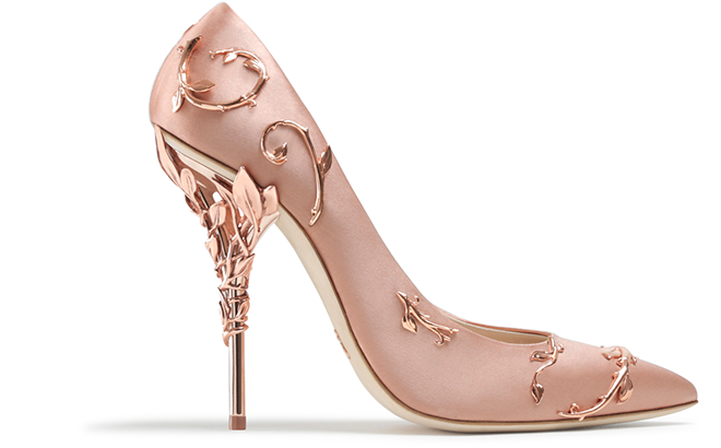 Eden Eve Pump Pink Satin with Rose Gold Leaves