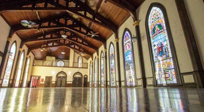 Galveston destination wedding venue historic stained glass church lyceum outdoor ceremony