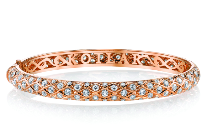 Criss Cross 18k Rose-Gold & Diamond Pave Bangle