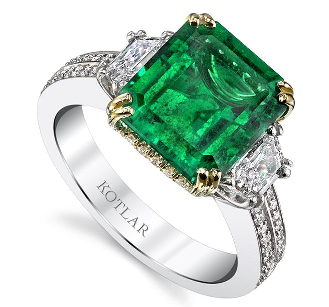 Harmonie Emerald, Diamond, 18k Yellow Gold & Platinum Ring
