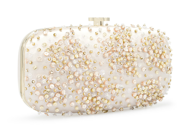Gold Embroidered White Satin Goa Clutch
