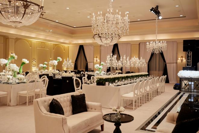 Black and White Color Palette Wedding Reception Decor