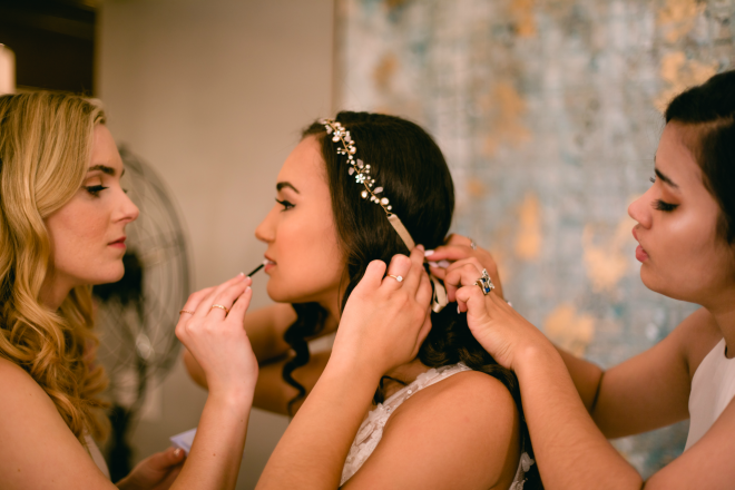 Getting Ready, bridal makeup, bridal hair