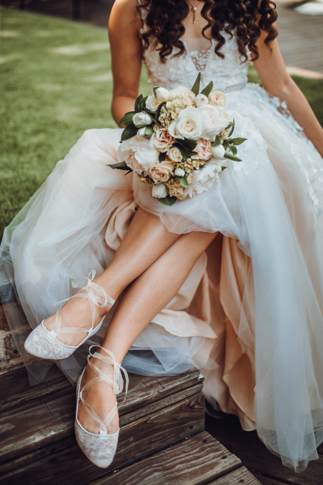 bridal bouquet, blush flowers, ballet flats