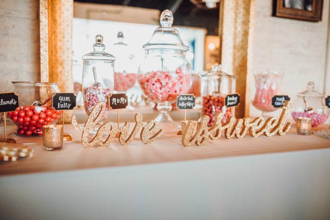 reception, candy bar