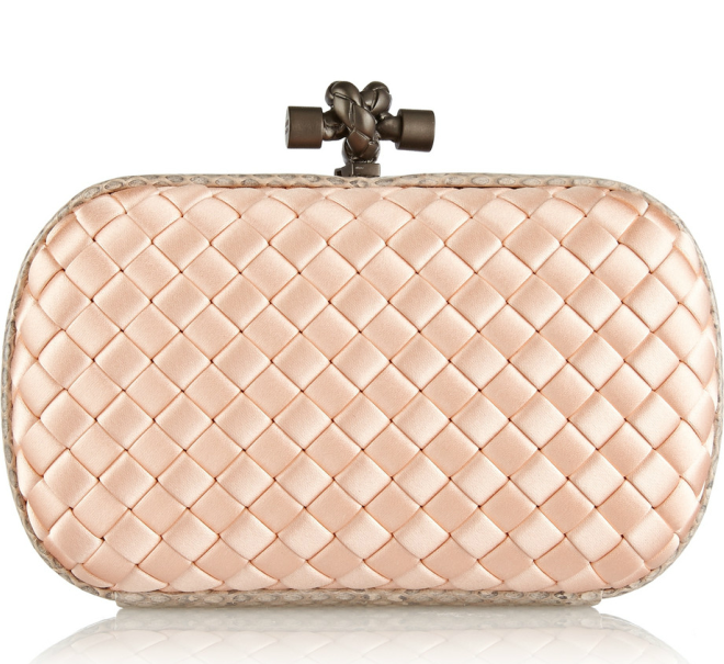 The Knot Pink Watersnake-Trimmed Intrecciato Satin Clutch