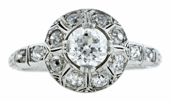 Old-Euro-Cut Art Deco Engagement Ring