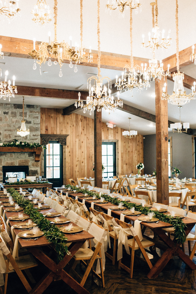 Grand Hall Magnolia Texas Houston Wedding Venue Barn Rustic Elegant Wood Farm Tables Chandeliers