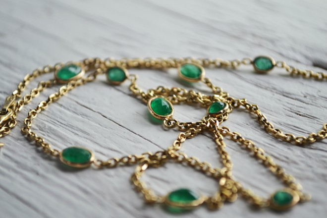 Colombian Emerald Gold Necklace Rent Houston Jewelry