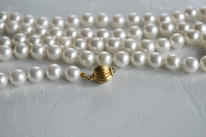 Pearl Necklace Solid Cold Clasp Rental Houston Jewelry
